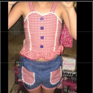 Cropped Top Gingham Girls' Outfit